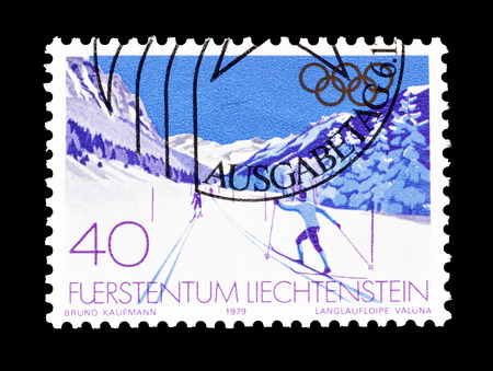 Cancelled postage stamp printed by Liechtenstein, that shows Winter Olympic games, circa 1979.