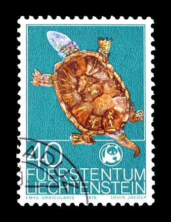 Cancelled postage stamp printed by Liechtenstein, that shows European Pond Turtle, circa 1976. Editorial