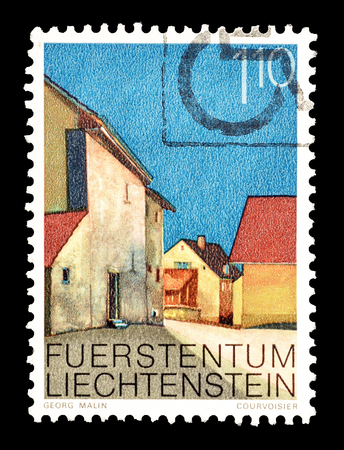 Cancelled postage stamp printed by Liechtenstein, that shows Vaduz Middle village, circa 1978.