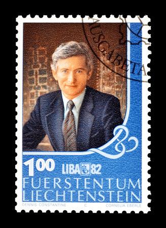 Cancelled postage stamp printed by Liechtenstein, that shows Prince Hans Adam, circa 1982. Editorial