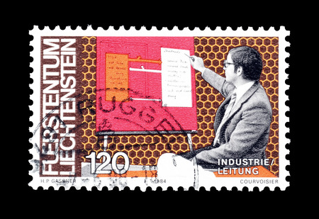 Cancelled postage stamp printed by Liechtenstein, that shows Scientist, circa 1984.