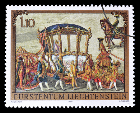 philately: Cancelled postage stamp printed by Liechtenstein, that shows Painting, circa 1978. Editorial