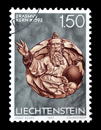 Cancelled postage stamp printed by Liechtenstein, that shows Sculpture, circa 1977.