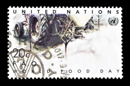 およそ 1984 年の世界食糧デーを推進する国連によって印刷された切手をキャンセルします。 報道画像