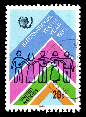 Cancelled postage stamp printed by United Nations, that promotes International youth year, circa 1985.
