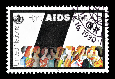 promotes: Cancelled postage stamp printed by United Nations, that promotes Fight against AIDS, circa 1990.