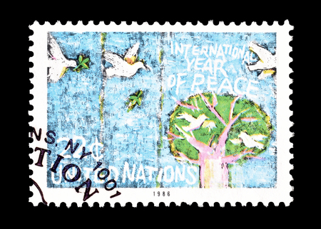 promotes: Cancelled postage stamp printed by United Nations, that promotes International year of peace, circa 1986.
