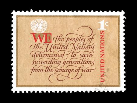 1978 年頃、国連を推進する国連によって印刷された切手をキャンセルします。 報道画像