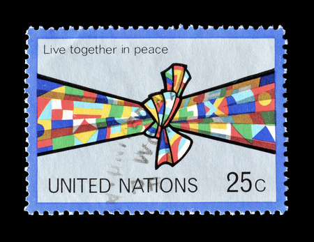 1978 年頃、平和に同居を推進する国連によって印刷された切手をキャンセルします。