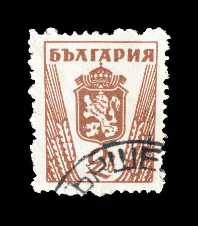 取り消された切手ブルガリアによって印刷される、1945 年頃の紋章付き外衣を示します。