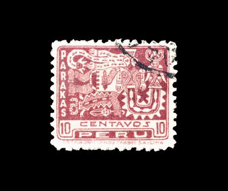 1932年頃のパラカスを示すペルーの郵便切手の取り消し。
