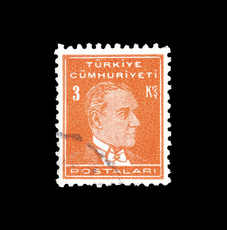 Cancelled postage stamp printed by Turkey, that shows Kemal Ataturk, circa 1938. Editorial