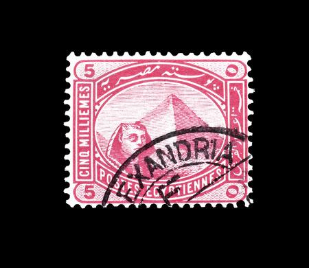 Sello de correo cancelado impreso por Egipto, que muestra Egipto Esfinge y pirámide, alrededor de 1888.