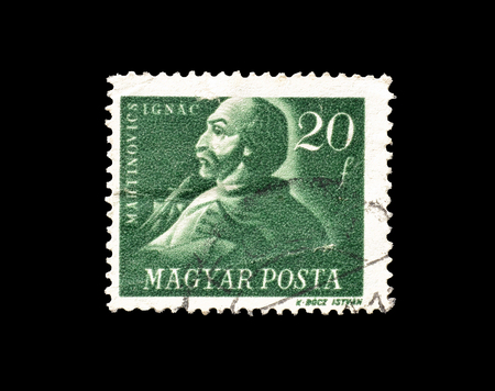 1947 년경 Ignac Martinovics의 초상화를 보여주는 헝가리에 의해 인쇄 된 취소 우표.