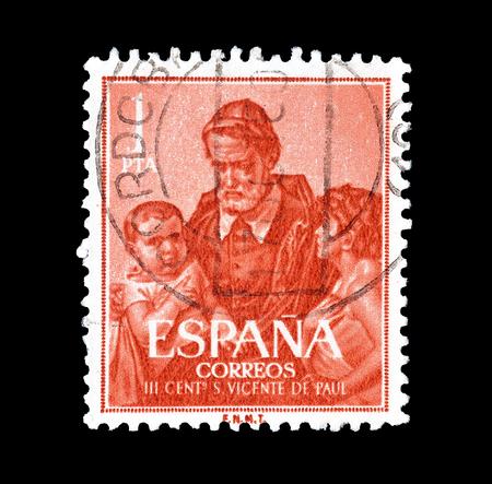 昭和 35 年頃、セント ビンセント デ ポールを示すスペインによって印刷の切手をキャンセルしました。 報道画像