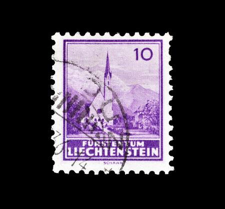 1934年頃、シャーンの教会を示すリヒテンシュタインによって印刷された郵便切手を取り消しました。