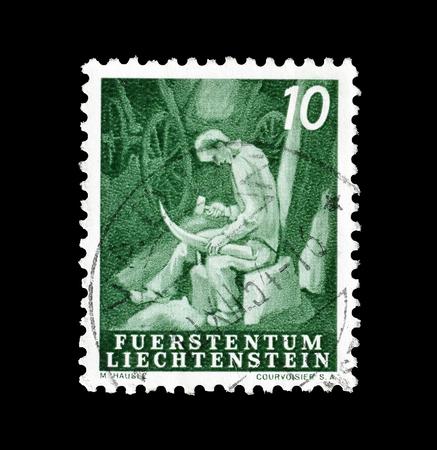 切手 1951 年頃、労働者を示すリヒテンシュタインによって印刷をキャンセルします。