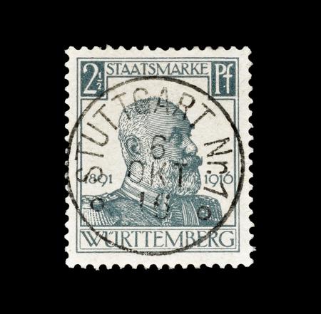 ドイツ、ビュルテンベルク、によって印刷された切手 1916 年頃、王ヴィルヘルム 2 世の肖像画を示しています。