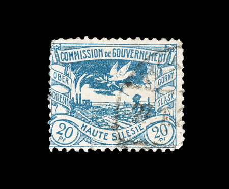 Postage stamp printed by Germany, that shows Silesian metallurgical plants, circa 1920.