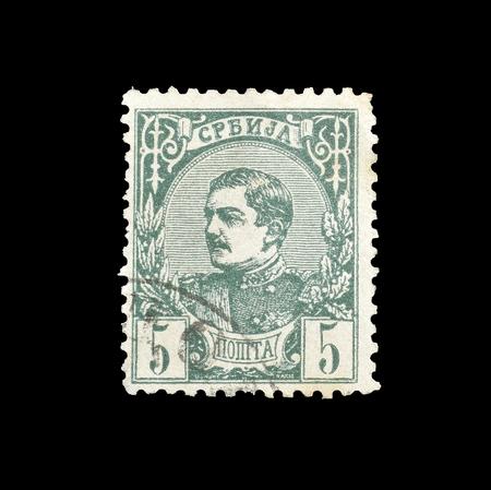 1880年頃、ミラノ王の肖像画を示すセルビアが印刷した郵便切手の取り消し。 報道画像