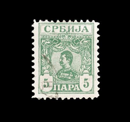 1901年頃、アレクサンダー王の肖像画を示すセルビアによって印刷された郵便切手をキャンセルしました。