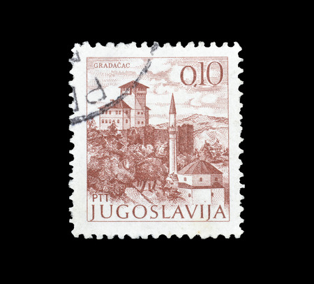 Cancelled postage stamp printed by Yugoslavia, that shows Gradacac, circa 1972. Editorial