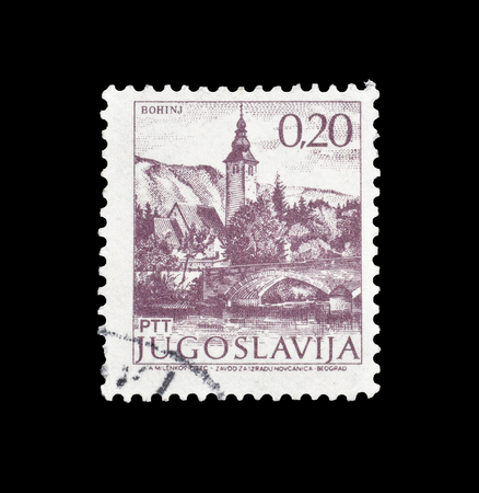 Cancelled postage stamp printed by Yugoslavia, that shows Bohinj, circa 1981. Editorial