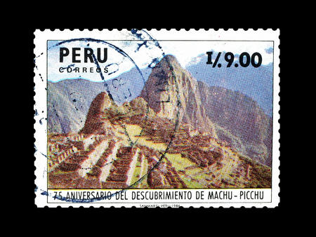 Cancelled postage stamp printed by Peru, that shows Machu Picchu, circa 1987.