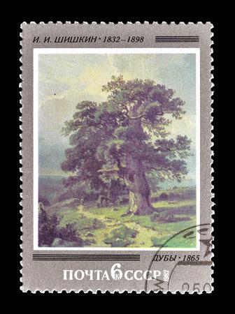 1982年頃、シシキンの絵を描いたソ連が印刷した切手を取り消した。