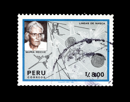 Cancelled postage stamp printed by Peru, that shows Dr Maria Reiche and Nazca lines, circa 1987.