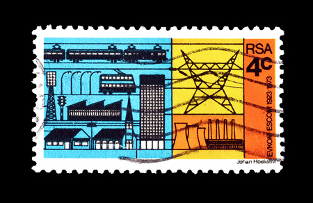 Cancelled postage stamp printed by South Africa, that shows Electricity Consumers and Producer, circa 1973. Redactioneel