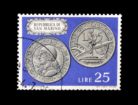 Cancelled postage stamp printed by San Marino, that shows Old coins, circa 1972.