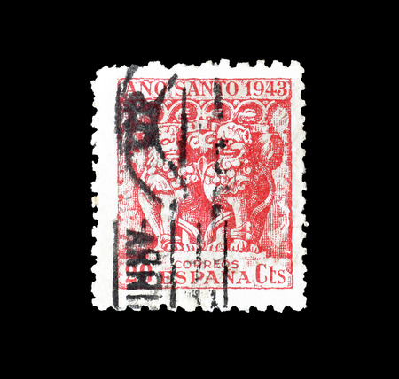 Cancelled postage stamp printed by Spain, that promotes Compostela holy year, circa 1944. 報道画像