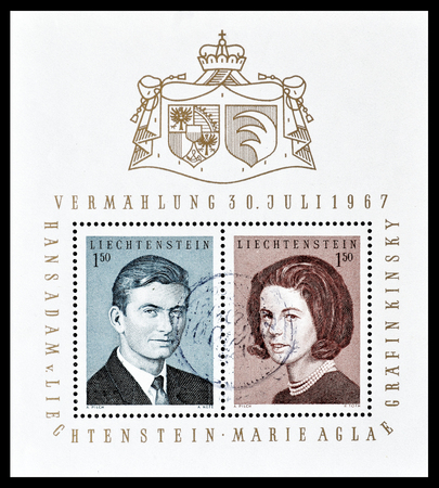 Cancelled block with postage stamps printed by Liechtenstein, that show portraits of prince Hans Adams and Countess Marie Aglae Kinsky, circa 1967.