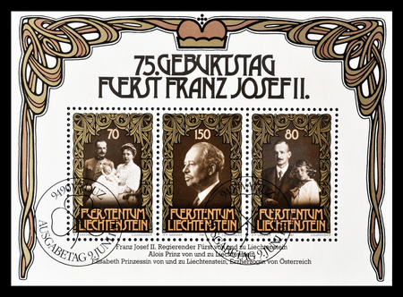 Cancelled block with postage stamps printed by Liechtenstein, that shows portraits of Royalty, circa 1981.
