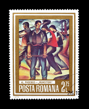 Cancelled postage stamp printed by Romania, that shows painting of Workers by Phoebus, circa 1973. 報道画像