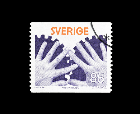 Cancelled postage stamp printed by Sweden, that promotes Industrial welfare, circa 1976. 報道画像