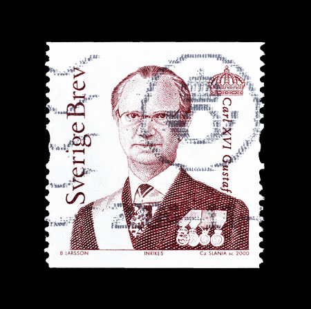 Cancelled postage stamp printed by Sweden, that shows portrait of king Carl XVI Gustaf, circa 2000.