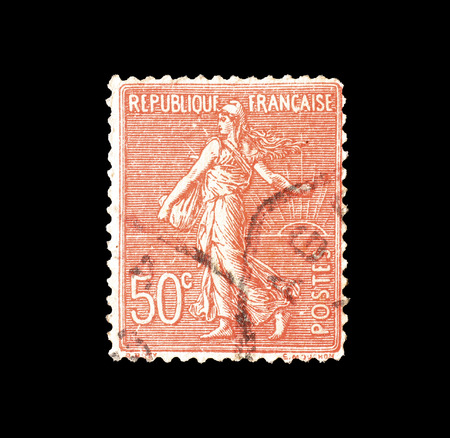 Cancelled postage stamp printed by France, that shows Sower, circa 1924.