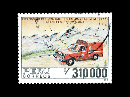 Cancelled postage stamp printed by Peru, that shows Postal vehicle, circa 1990.