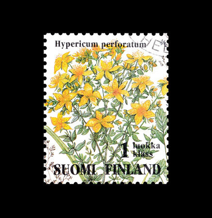 Cancelled postage stamp printed by Finland, that shows St Johns wort flower, circa 1994.