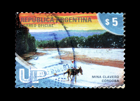 Cancelled postage stamp printed by Argentina, that promotes Tourist attraction Mina Clavero Cordoba, circa 2008. Editorial