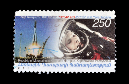 Cancelled postage stamp printed by Nagorno Karabakh, that shows Astronaut Yuri Gagarin, circa 2011.