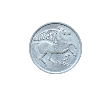 Reverse of 5 Drachma coin, that shows Pegasus, the mythological winged horse.