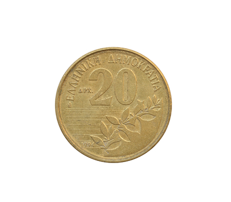 Reverse of 20 Drachma coin made by Greece, that shows Numeral value Stockfoto