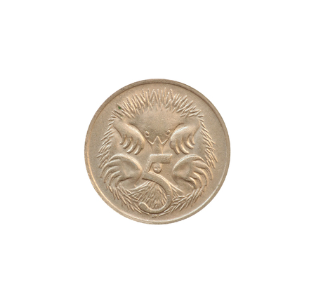 Reverse of 5 Cents coin made by Australia, that shows Short-beaked Echidnas or Spiny Ant Eater