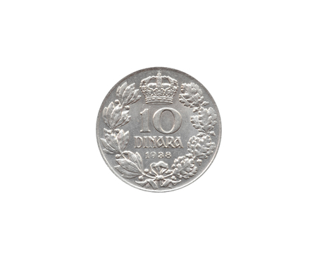 Obverse of 10 Dinar coin made by Yugoslavia that shows Royal Crown and numeral value 版權商用圖片