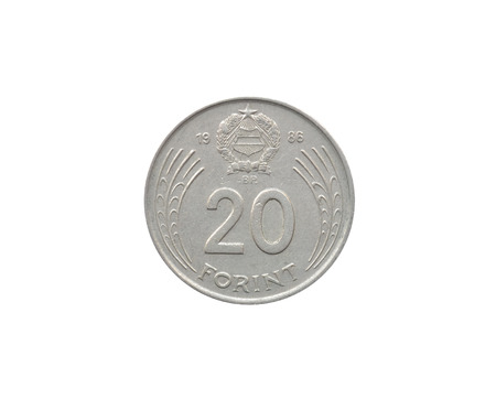 Reverse of 20 Forint coin made by Hungary that shows Numeral value Stock Photo