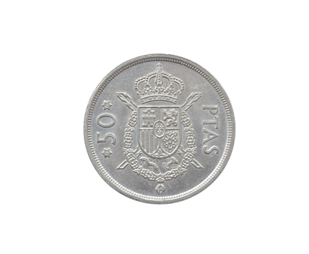 Reverse of 50 Pesetas coin made by Spain that shows Coat of arms and numeral value