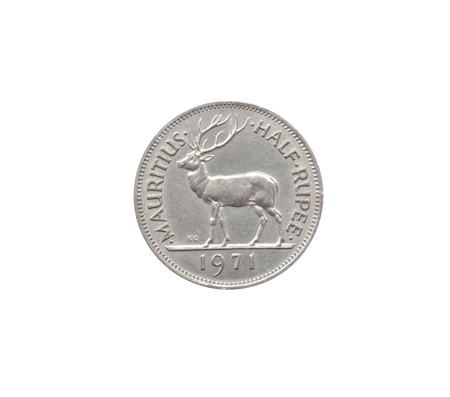 Reverse of Half rupee coin made by Mauritius that shows Deer